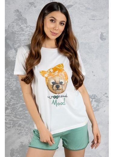 Katia & Bony Teddy Bear Basklı şortlu Kadın Pijama Takımı - Beyaz Ekru